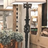 Antique French iron railing lamps, a pair