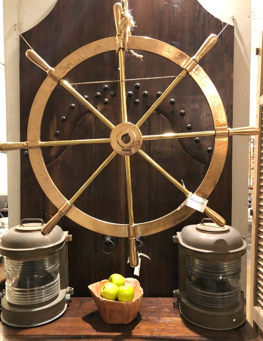 Antique ship wheel at Brocante French Antiques